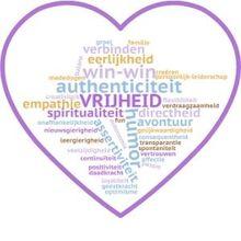 Kernwaarden, woordwolk in de vorm van een hart